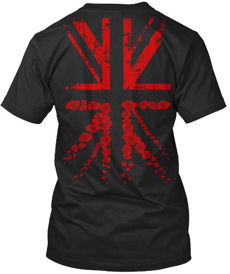 Remembrance Day  Poppy Flag Black T-Shirt Back
