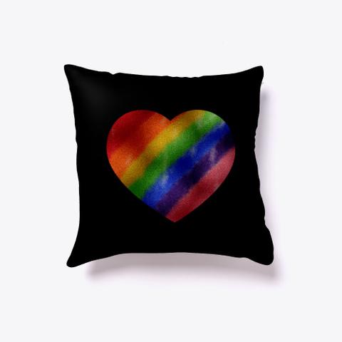 Pride Rainbow Metallic Heart Black T-Shirt Back