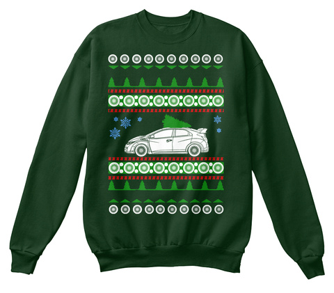 Type R Civic  Ugly Christmas Sweater Deep Forest  Sweatshirt Front