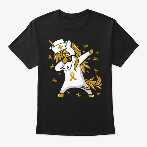 Unicorn Dabbing Childhood Cancer Shirt Black T-Shirt Front