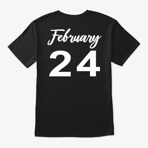 February 24   Pisces Black T-Shirt Back