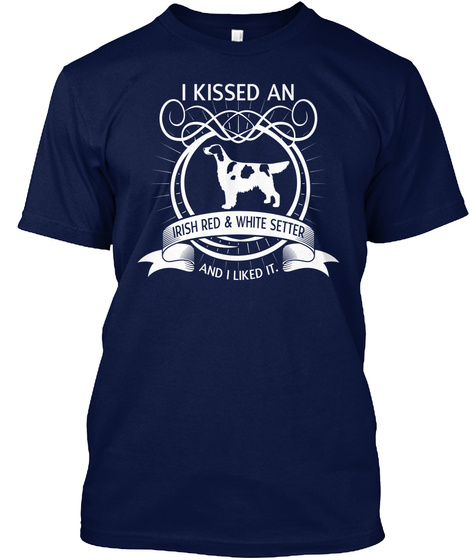 Irish Red And White Setter Navy T-Shirt Front