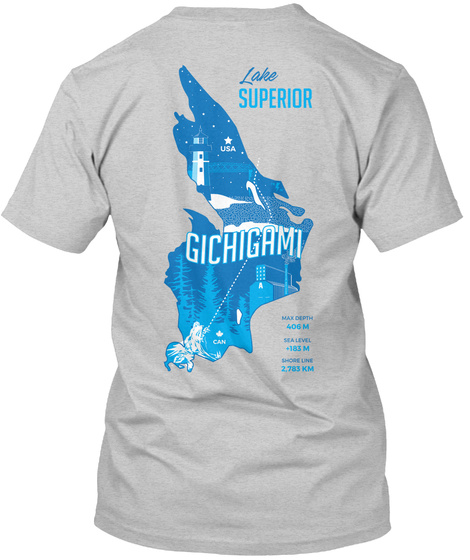 Lake Superior Gichighmi Light Steel T-Shirt Back