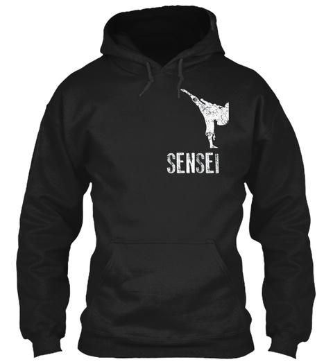 Mens Karate Shirt, Sensei Cool Martial A Black T-Shirt Front