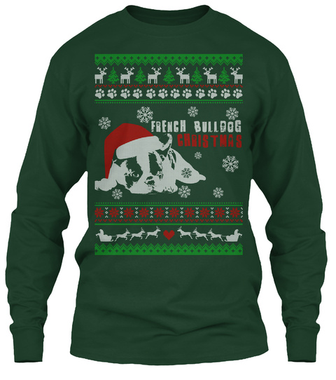 french bulldog christmas forest green long sleeve t shirt front