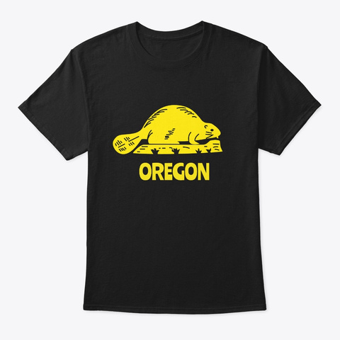 Cute Oregon Beaver Gift For State Of Black T-Shirt Front