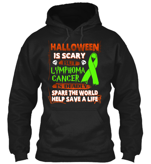Halloween Shirt For Lymphoma Cancer Black T-Shirt Front