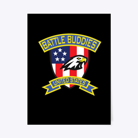 Battle Buddies Usa Poster Black T-Shirt Front