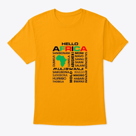 Hello Africa Gold T-Shirt Front