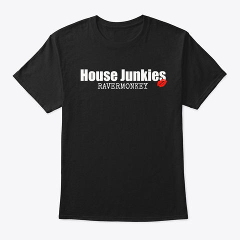 Ravermonkey Soulful House Music Dj Gift Black T-Shirt Front