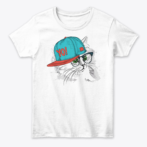Hipster Cat Tee White T-Shirt Front