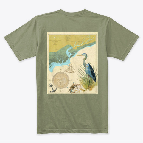 Winyah Bay Light Olive T-Shirt Back