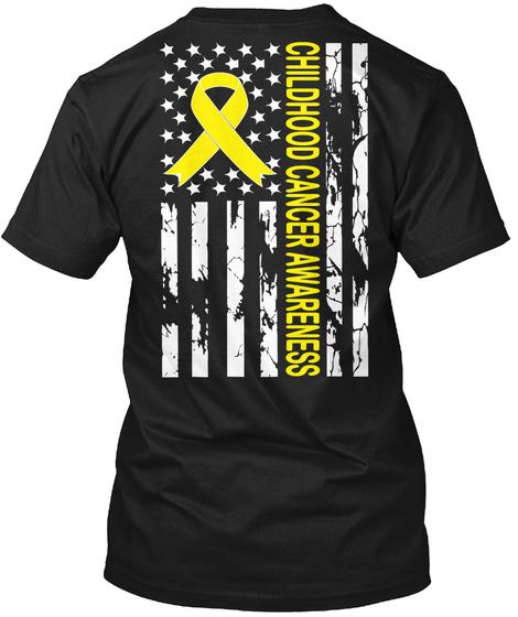 Childhood Cancer Awareness Black T-Shirt Back