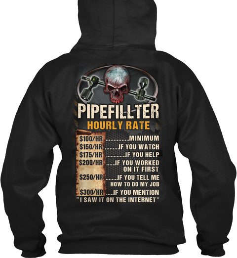 Pipefitter Hourly Rate Black T-Shirt Back
