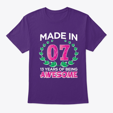 Birthday Basket 13years Of Being Awesome Purple T-Shirt Front