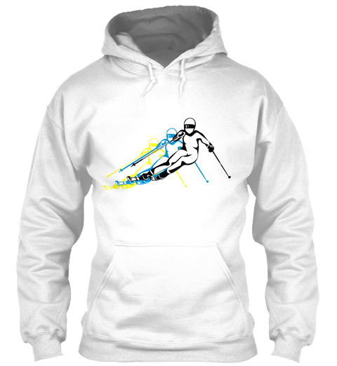 Winter Holiday Ski Downhill Designkunst White T-Shirt Front