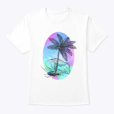 Ocean Palm Tree Beach Vacation T Shirt White T-Shirt Front