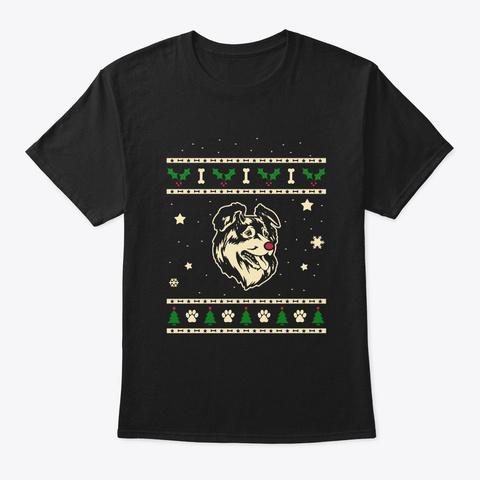 Christmas Australian Shepherd Gift Black T-Shirt Front