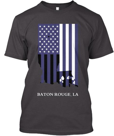 Baton Rouge. La Heathered Charcoal  T-Shirt Front