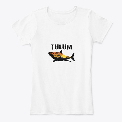Tulum Mexico Shark White T-Shirt Front