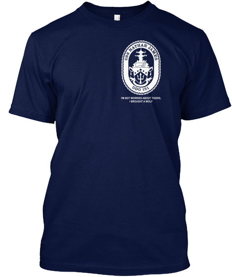 Let's Be Warriors On Nathan James Ship Navy T-Shirt Front
