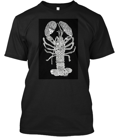 Whitstable Sea Life Black T-Shirt Front
