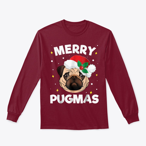 Merry Xmas Christmas Pug Lover Gifts Cardinal Red T-Shirt Front