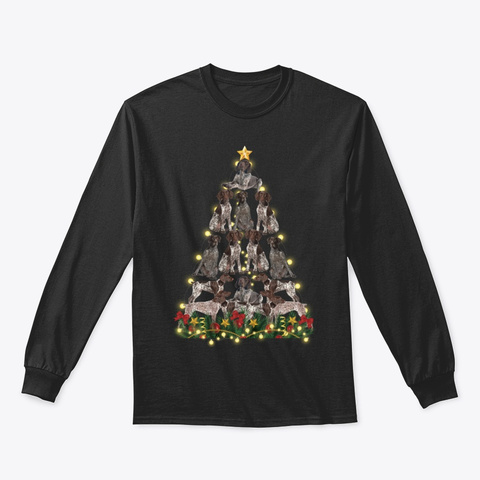 German Shorthaired Pointer Christmas Black T-Shirt Front