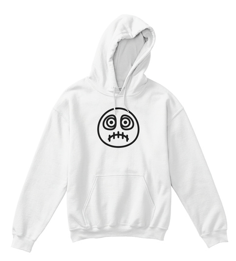 Kids Hoodie Scary Sew Face White T-Shirt Front