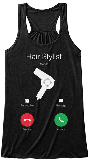 Hair Stylist Mobile Remind Me Message Decline Accept Black Débardeur pour Femme Front