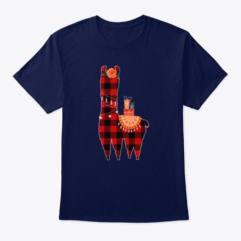 Christmas Llama Shirt Christmas Matching Navy T-Shirt Front