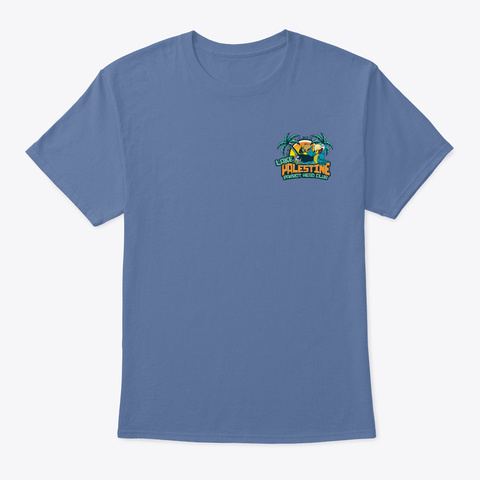 Lake Palestine Parrot Head Club Denim Blue T-Shirt Front