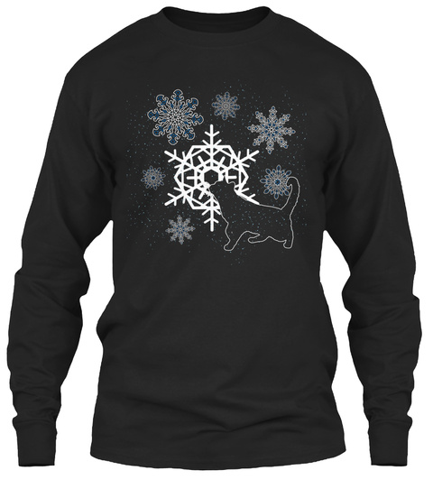 Cat With Snowflakes Black T-Shirt Front