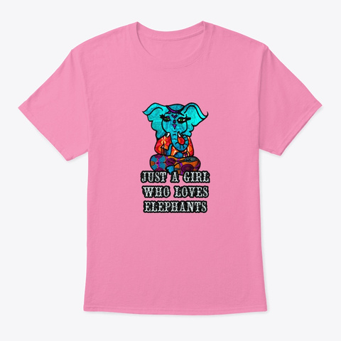 Just A Girl Who Loves Elephants 2 Pink T-Shirt Front