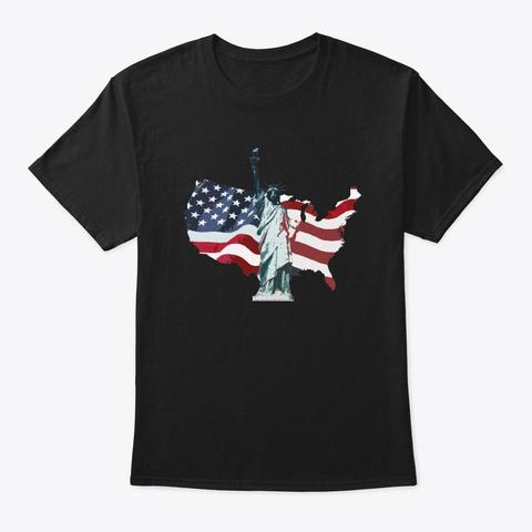 Vintage New York City  Usa Flag America Black T-Shirt Front