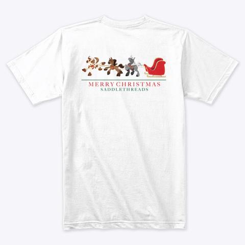 Santa's Sleigh Ponies White T-Shirt Back