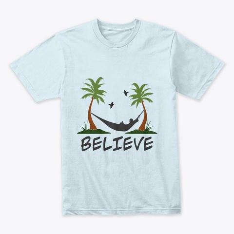 Palm Tree Birds Riddle Light Blue T-Shirt Front