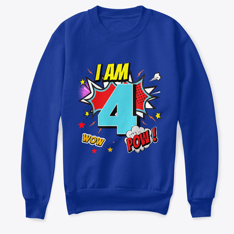 4 Years Old 4th Birthday Boy Comic Kid  Deep Royal  T-Shirt Front