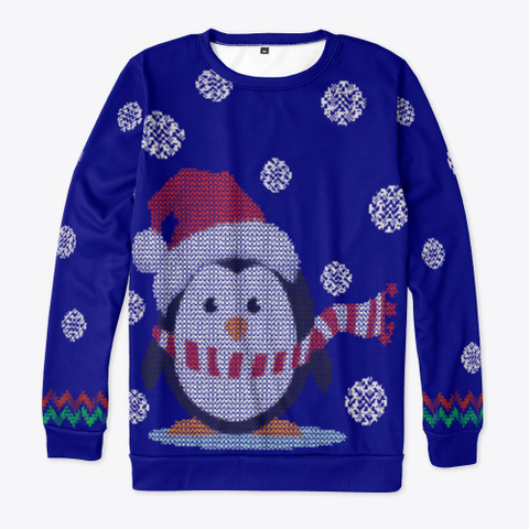 Christmas Penguin Ugly Sweater Dark Navy T-Shirt Front