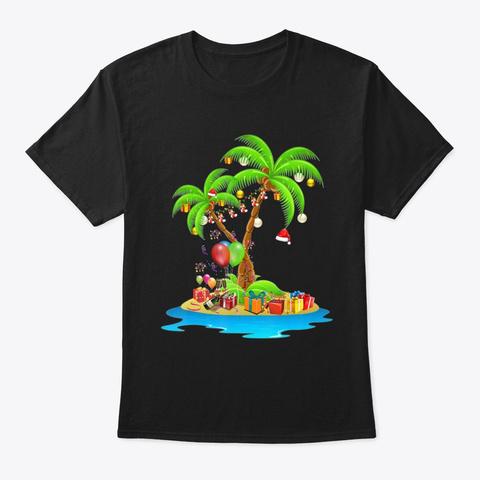Christmas Palm Tree Tropical Xmas Cocon  Black T-Shirt Front