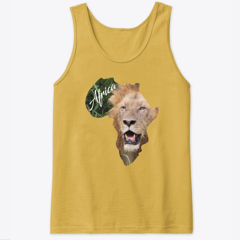 Africa With Lion Fill Gold T-Shirt Front