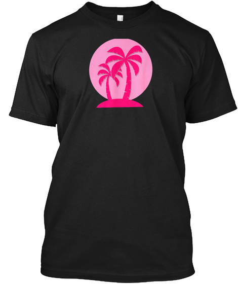 Cool Tropical Palm Tree Sunset Gift Tee Black T-Shirt Front