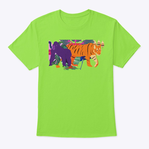 The Gorilla Just Broke Up With The Tiger Lime T-Shirt Front