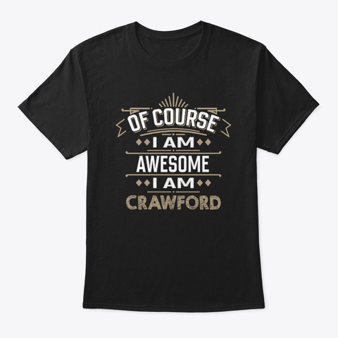 Awesome Crawford Family Name Tee Black T-Shirt Front