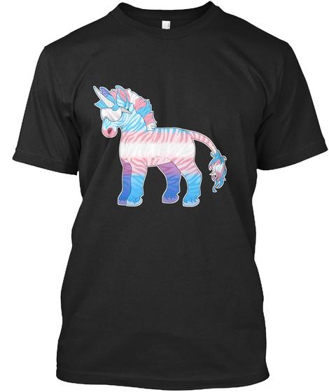Zebracorn   Trans Pride Black T-Shirt Front