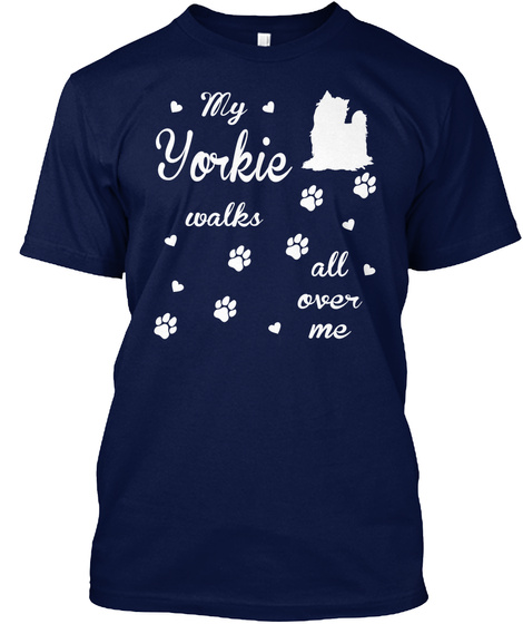 Yorkie Navy T-Shirt Front