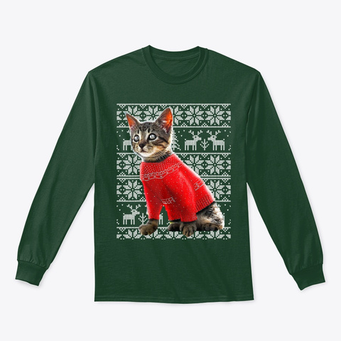 Ugly Christmas Sweater Cat Shirt Christ Forest Green T-Shirt Front
