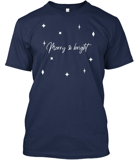 Merry And Bright Navy T-Shirt Front