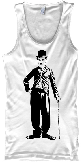 Funny Men's Tank Top   Charlie Chaplin  White Regata Front