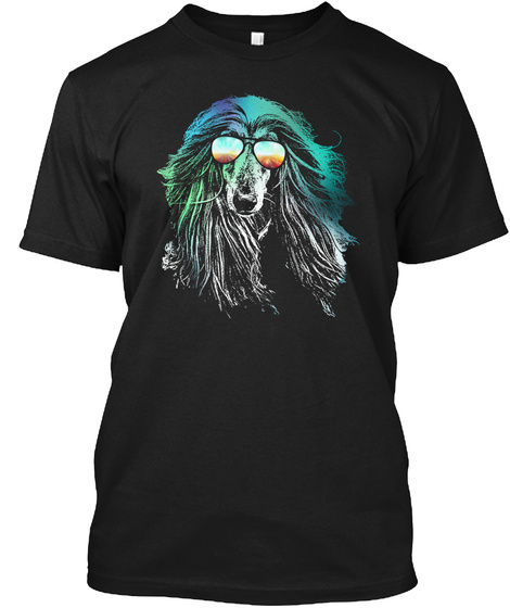 Afghan Hound Neon Dog Shirt Black T-Shirt Front